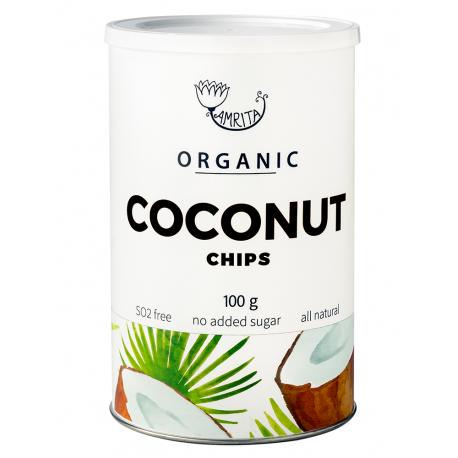 Ekologiški džovintų kokosų traškučiai, AMRITA100 g