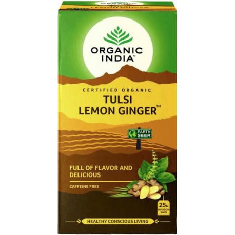 "Organiskā tēja ""Tulsi Lemon Ginger"" ORGANIC INDIA, 25 gab."