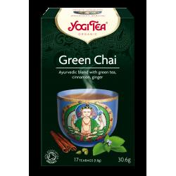 """Ekologiškų prieskonių mišinys su žaliąja arbata """"Green Chai"""" YOGI TEA, 30.6g"""