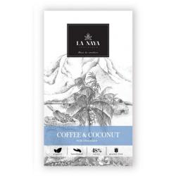 Ekologiškas tamsus pieninis šokoladas su kava ir kokosu LA NAYA, 80 g