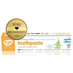 Ekologiška mandarinų ir alavijų dantų pasta vaikams GREEN PEOPLE, 50 ml