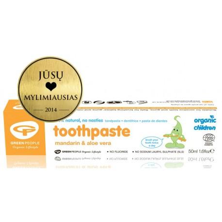 Ekol. mandarinų ir alavijų dantų pasta vaikams GREEN PEOPLE,50 ml